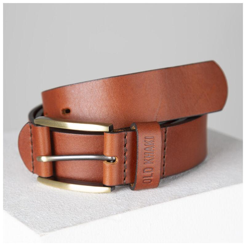 Ceasar Embossed Loop Leather Belt -  tan