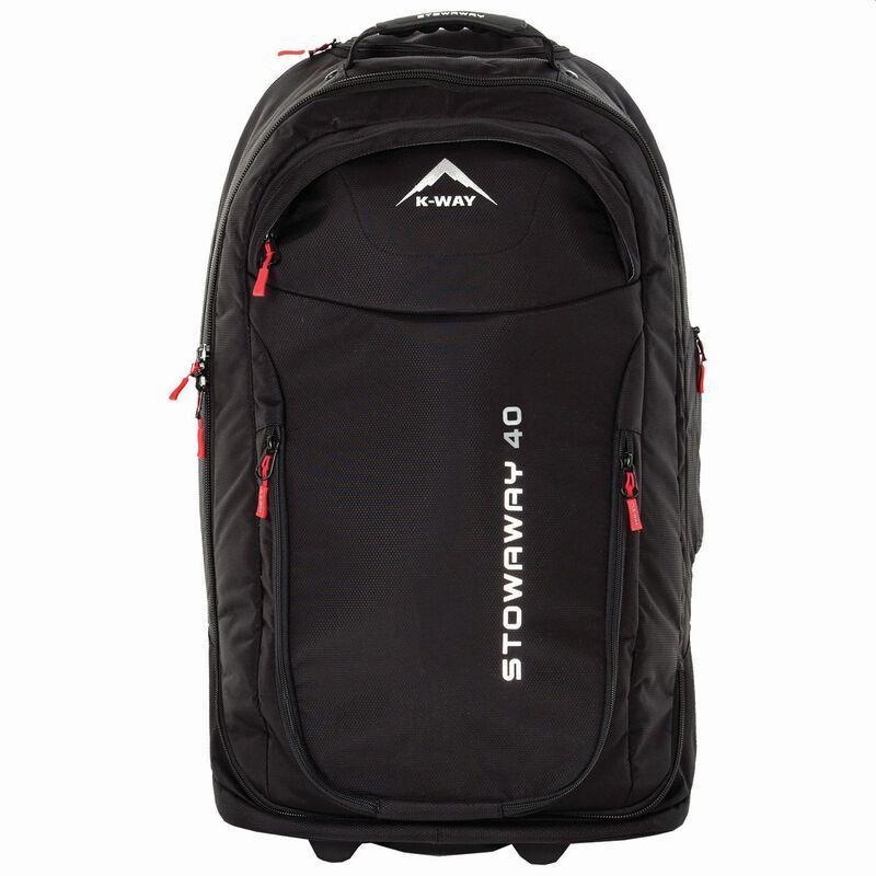 K-Way Stowaway 40L Roller Luggage Bag -  black-red