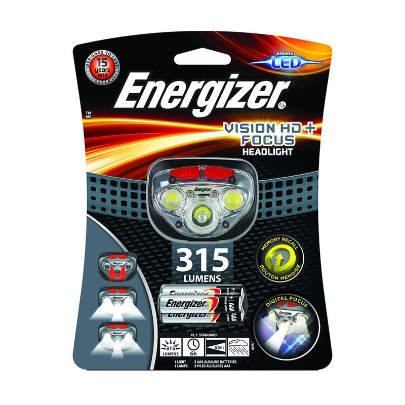 Energizer Vision HD+ Headlamp 315 +3AAA -  grey-red