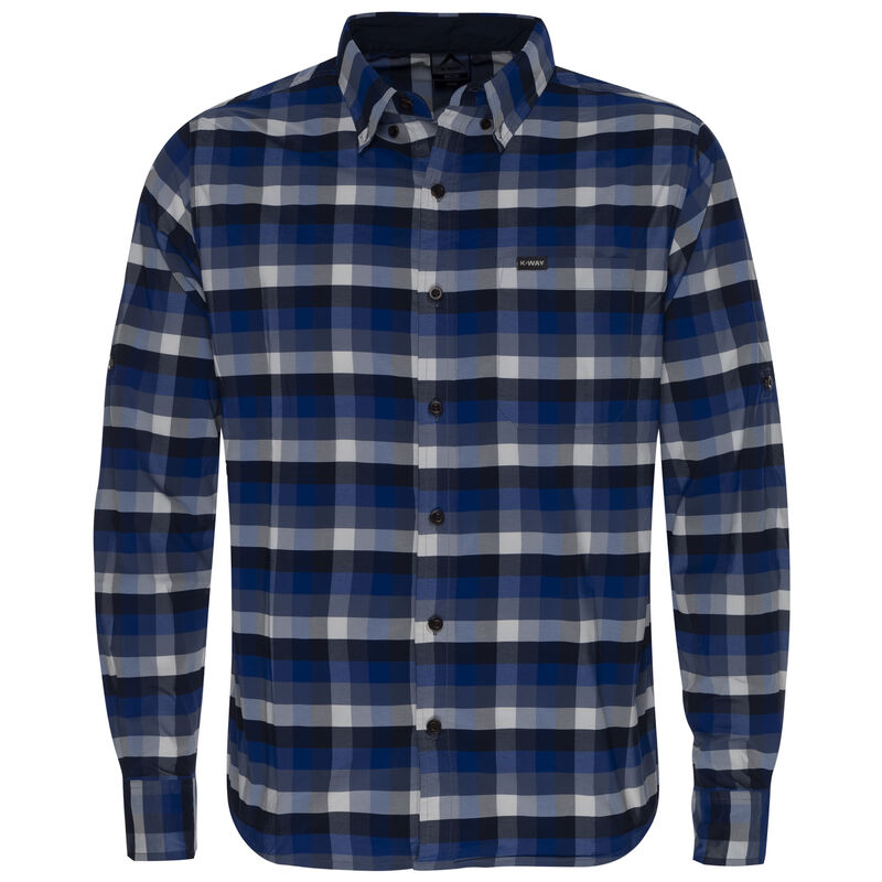 K-Way Men's Explorer Beaufort Long Sleeve Check Shirt -  blue-navy