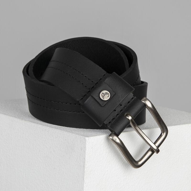 Cullen Ingot Trim Leather Belt -  black