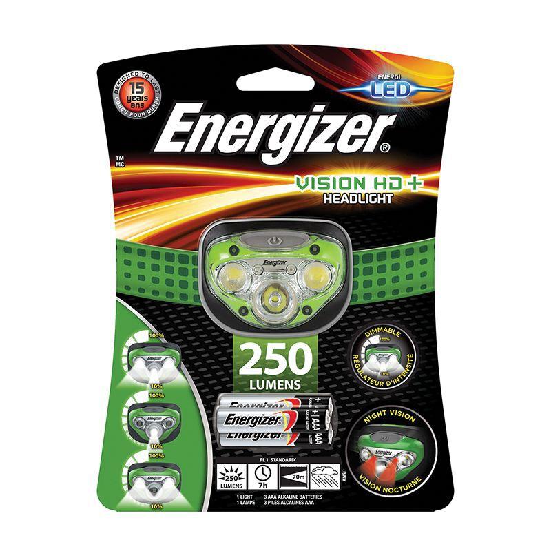 Energizer Vision HD+ Headlamp 250 +3AAA -  green