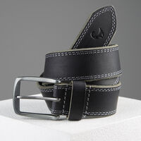 Kaleb Edge Stitch Leather Belt -  black