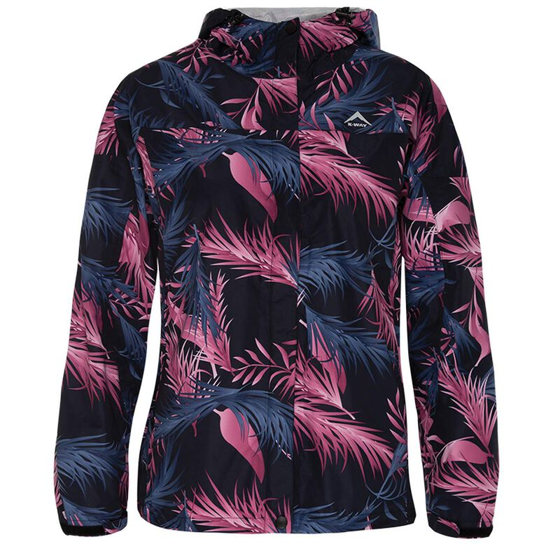 K-Way Women's Printed Cloudburst Jacket -  black-lightpink