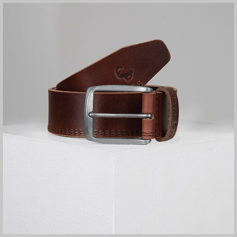 Bowen Double Stitch Leather Belt -  tan