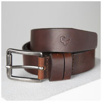 Johan Double Loop Leather Belt -  tan-tan