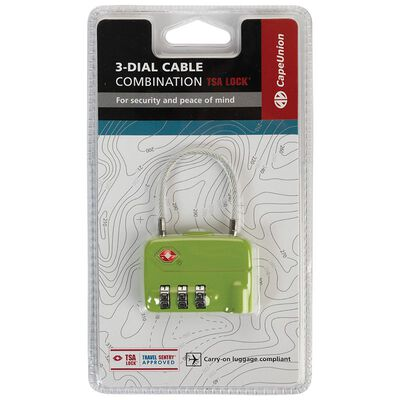 Cape Union Cable Lock TSA Lock 3-Dial Combination