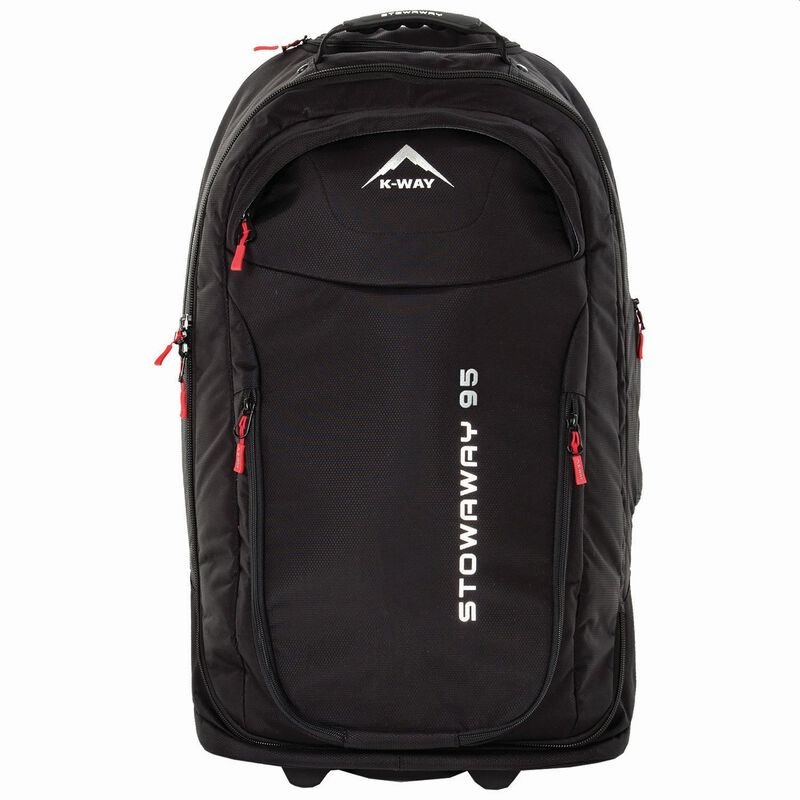 K-Way Stowaway 95L Roller Luggage Bag -  black-red