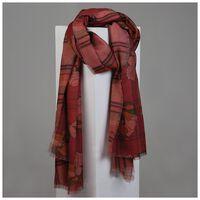 Mckenna Floral & Tartan Print Scarf -  rust-pink