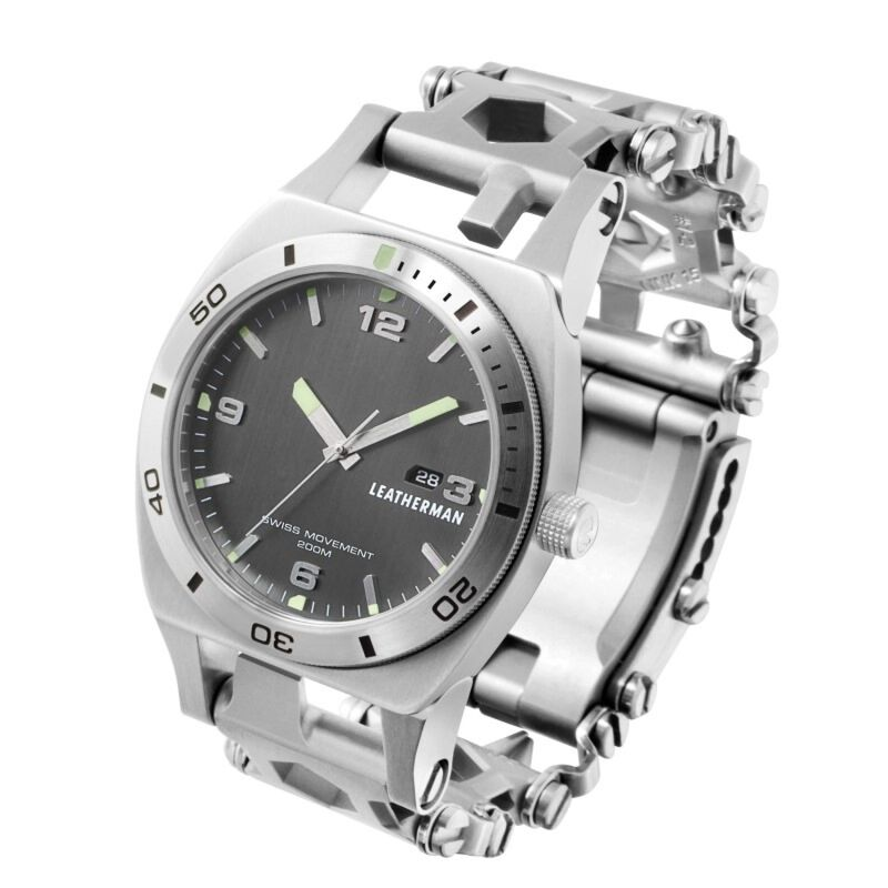 Leatherman Silver Tread Plus Watch and Leatherman Rev -  silver