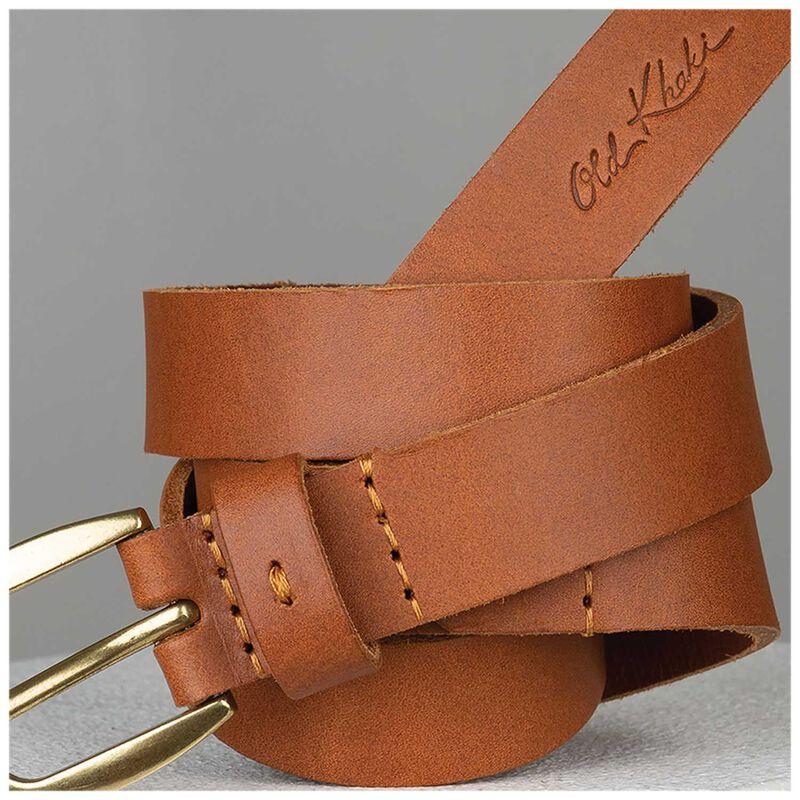 Lauryn Stitch Detail Leather Belt -  tan